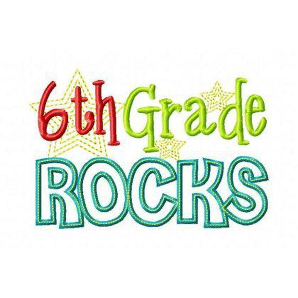 Sixth Grade Rocks - embroidery-boutique