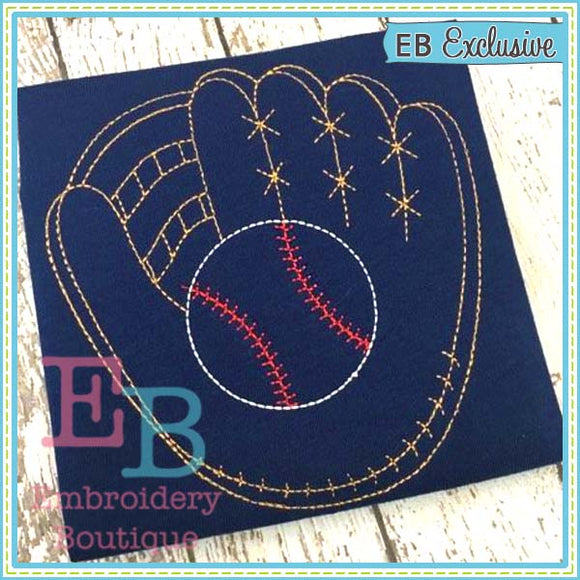 Vintage Baseball Glove Design, Embroidery