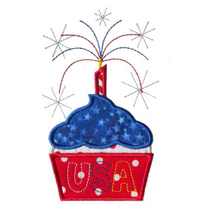 USA Cupcake Applique - embroidery-boutique