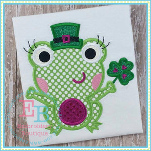 St. Patty's Diva Frog Applique - embroidery-boutique