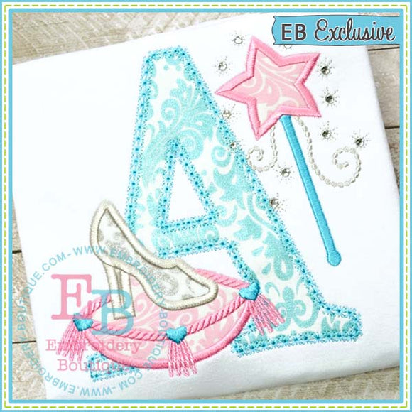 Glass Slipper Applique Alphabet, Applique Alphabet
