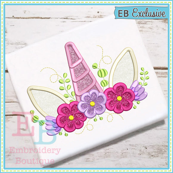 Unicorn Floral Crown Applique, Applique