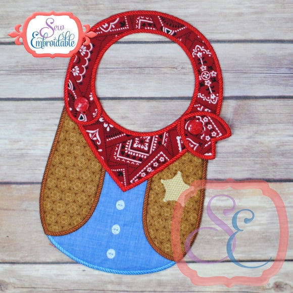 ITH Cowboy Baby Bib - embroidery-boutique