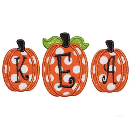 Three Pumpkins Applique - embroidery-boutique
