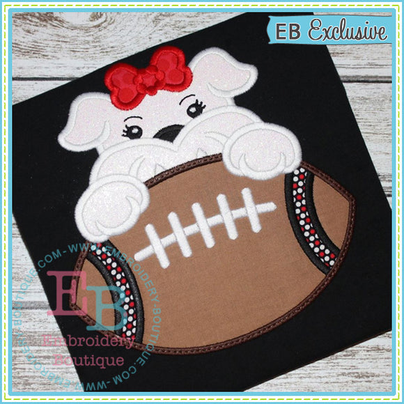 Football Bulldog Girl Applique, Applique