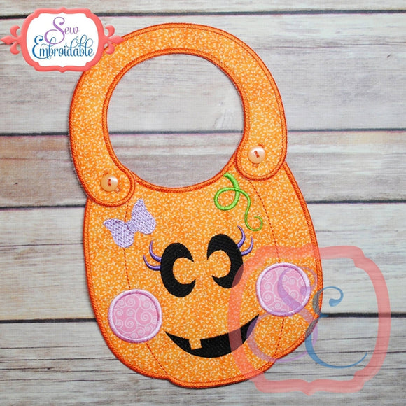 ITH Girl Pumpkin Baby Bib - embroidery-boutique