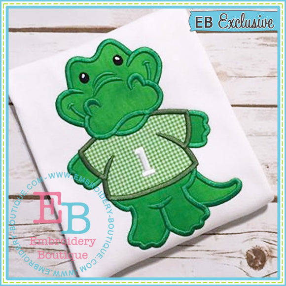 Boy Gator Mascot Applique, Applique