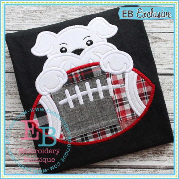 Football Bulldog Boy Applique, Applique