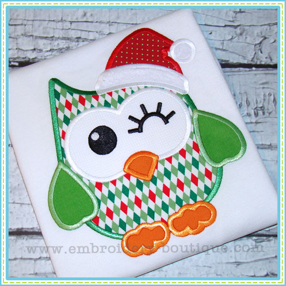 Christmas Owl Applique - embroidery-boutique