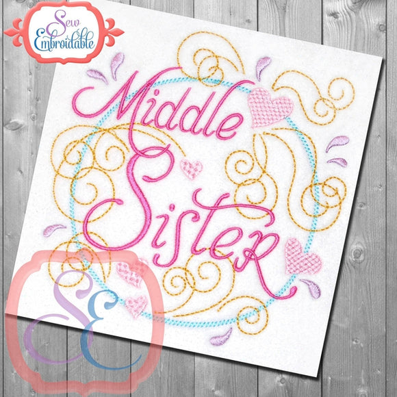 Middle Sister Swirly Embroidery Design, Embroidery