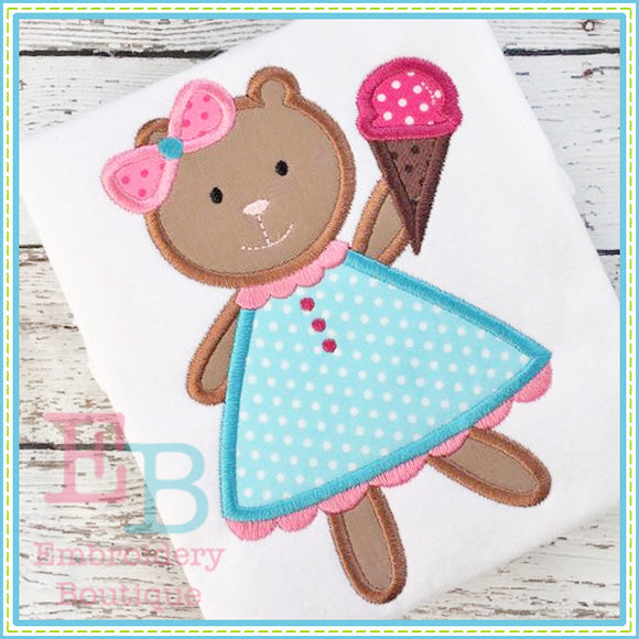 Bear Ice Cream Applique, Applique