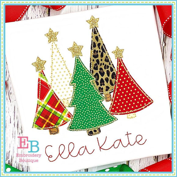 Christmas Trees Bean Applique