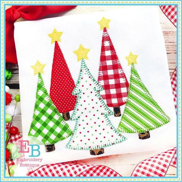 Christmas Trees Blanket Stitch Applique, Applique
