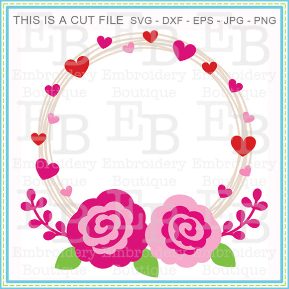 Hearts Roses Wreath SVG - embroidery-boutique
