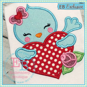 Tweet Heart Bird Applique - embroidery-boutique