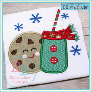 Milk and Cookies Boy Applique