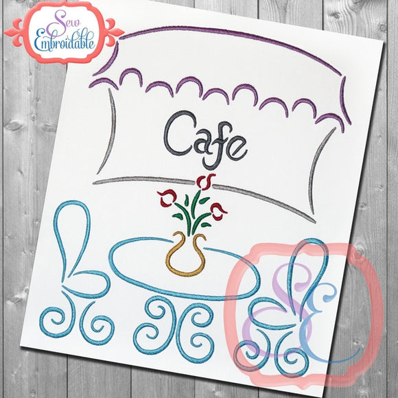 Paris Cafe Embroidery Design, Embroidery