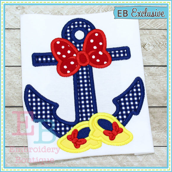 Bow Shoes Anchor Applique, Applique