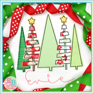 5 Trees Bean Stitch Applique, Applique