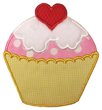 Heart Cupcake Applique - embroidery-boutique