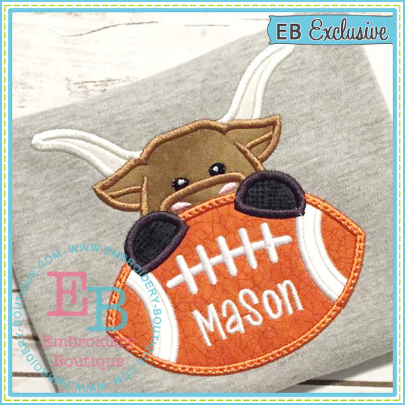 Football Longhorn Boy Applique, Applique