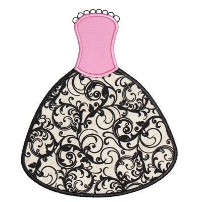 Princess Dress Applique - embroidery-boutique