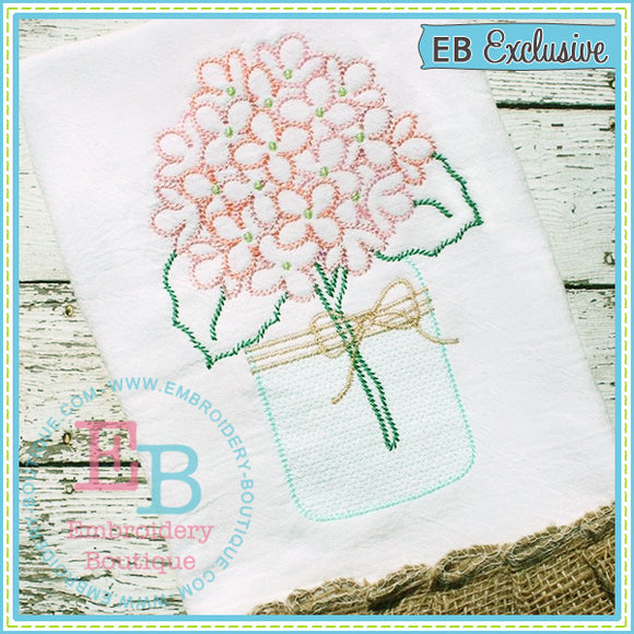 Sketch Hydrangeas Mason Jar - embroidery-boutique