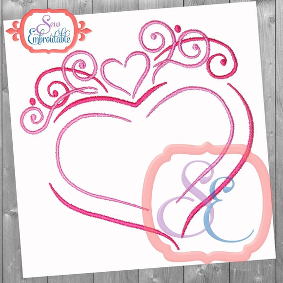 Heart Flourish Embroidery Design, Embroidery