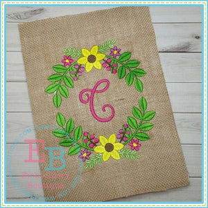 Floral Frame Embroidery Design