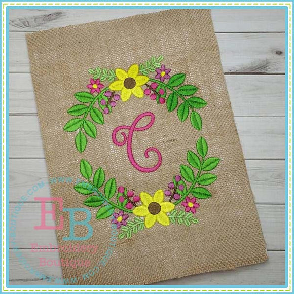 Floral Frame Embroidery Design, Embroidery