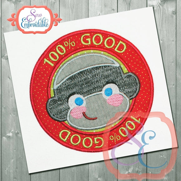 100% Good Boy Monkey Applique
