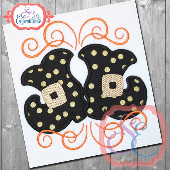 Swirly Witch Boots Applique
