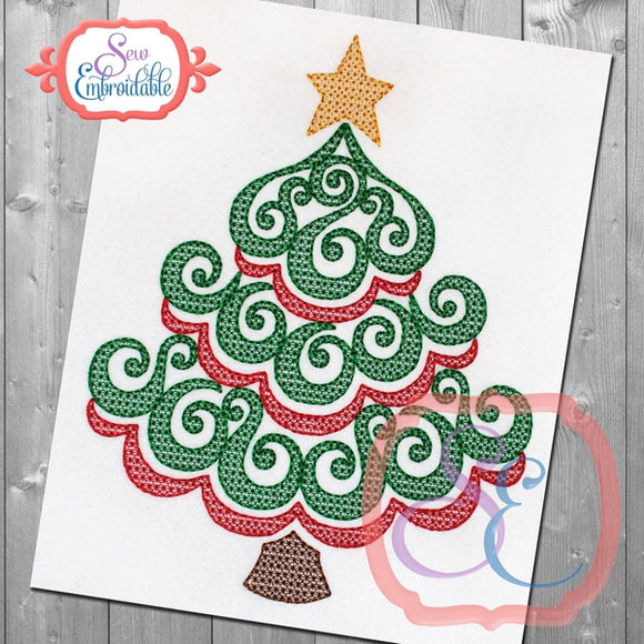 Swirl Christmas Tree Embroidery Design, Embroidery