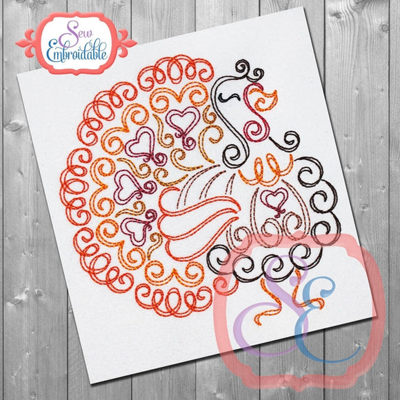 Turkey Swirl Embroidery Design, Embroidery