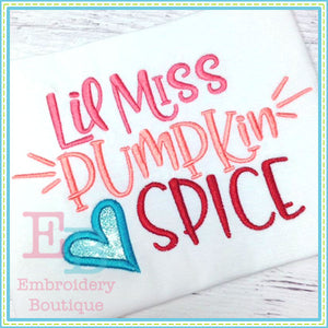 Lil Miss Pumpkin Spice Applique - embroidery-boutique