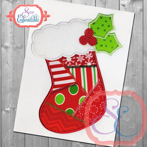 Patchwork Stocking Applique - embroidery-boutique