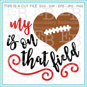 Heart on the Field Football SVG