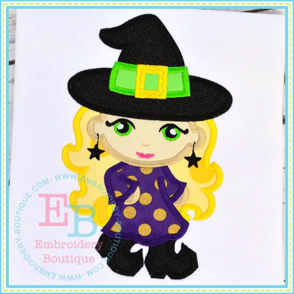 Diva Witch Applique - embroidery-boutique