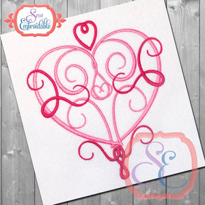 Swirl Heart 2 Embroidery Design