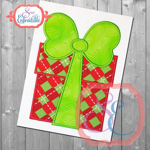 Present With Big Bow Applique - embroidery-boutique
