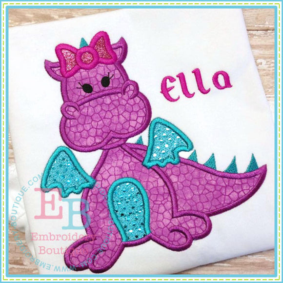 Girl Dragon Applique, Applique