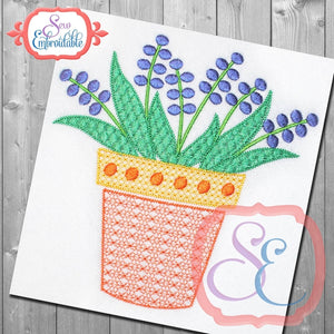 Motif Potted Flower Embroidery Design - embroidery-boutique
