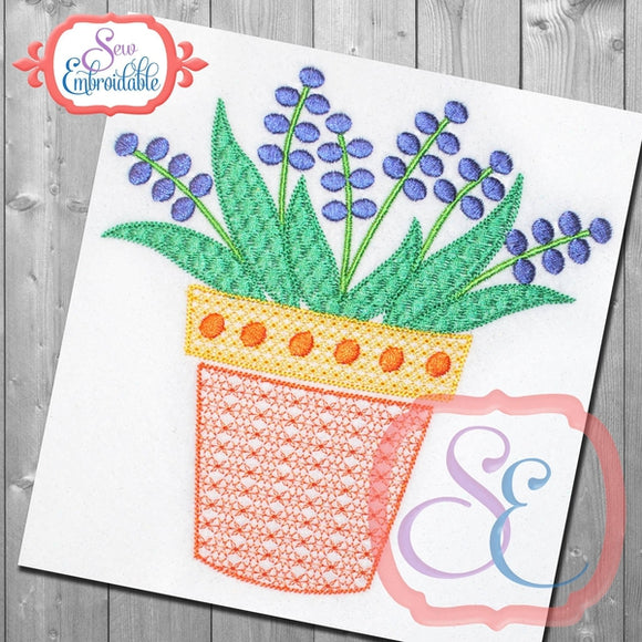Motif Potted Flower Embroidery Design, Embroidery