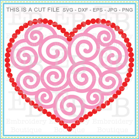 Dotted Swirly Heart SVG