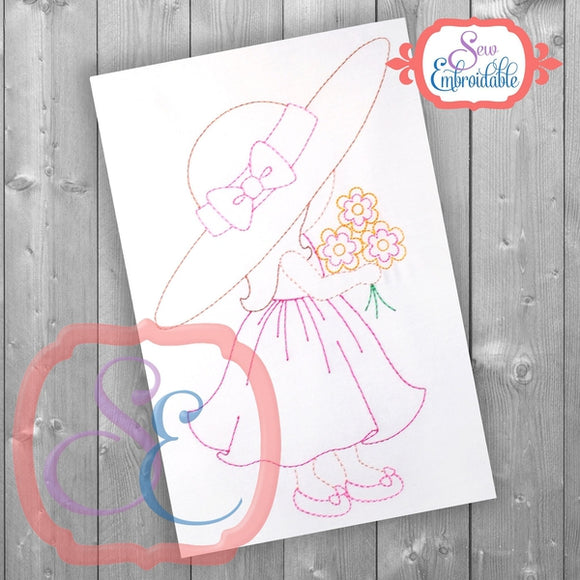 Sunbonnet Sue Bouquet Embroidery Design, Embroidery
