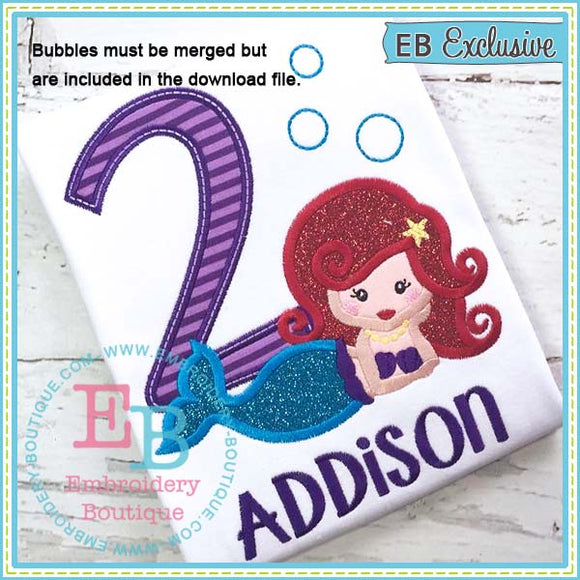 Mermaid Applique Number Set, Applique Number Set