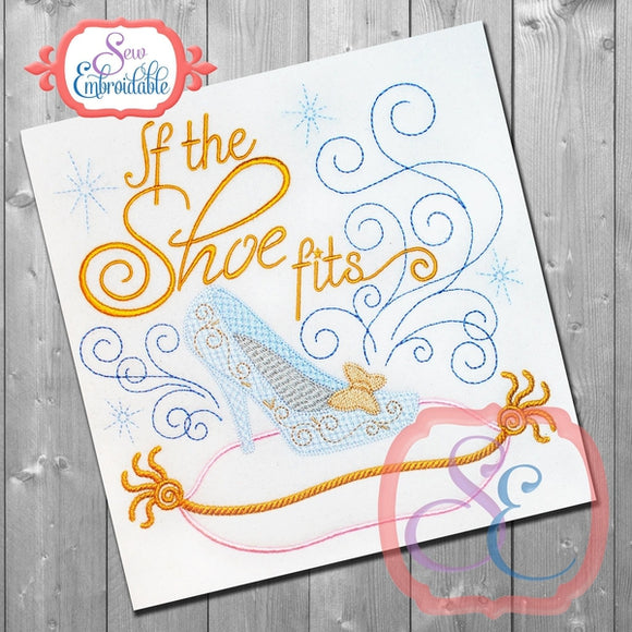If the Shoe Fits Glass Slipper Motif Design, Embroidery