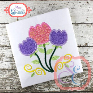 3 Tulips Applique - embroidery-boutique