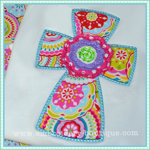 Cross with Raggy Flower Applique - embroidery-boutique
