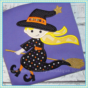 Witch on a Broom Applique - embroidery-boutique